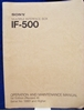 Picture of Sony IF-500 Operation and Maintenance Manual 1st Edition (Revised 4)
