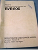Image de Sony BVE-800 Operation and Maintenance Manual 1st Edition (Revised 9)